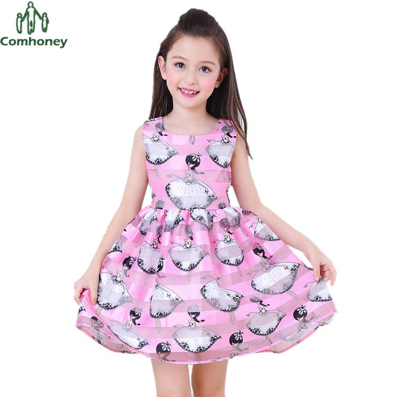 Teenager Girls Dress Sleeveless Girls Sun Dress Princess Print Summer Kids Dresses For Girls Tunic Party Baby Ball Gown Comhoney(China (Mainland))