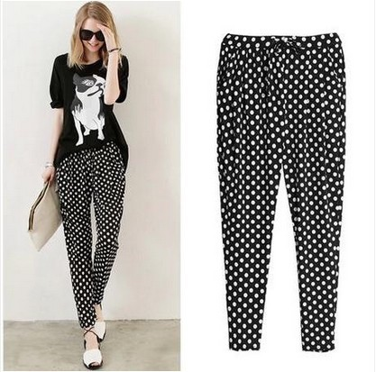 2015 Autumn Summer Women Harem Pants Casual Polka Dot/Star/Camou Printed Elastic Waist Plus Size Ladies Stretch Trousers S-3XL(China (Mainland))