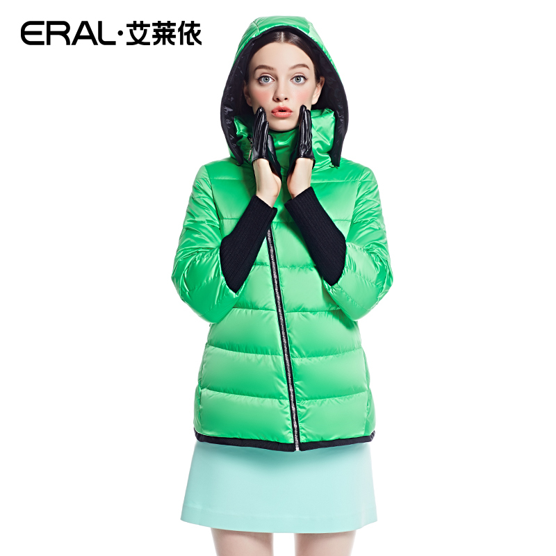 ERAL 2015 Winter Women's Stand Collar Slim Casual Hooded Solid Color Short Down Coat ERAL2018D(China (Mainland))