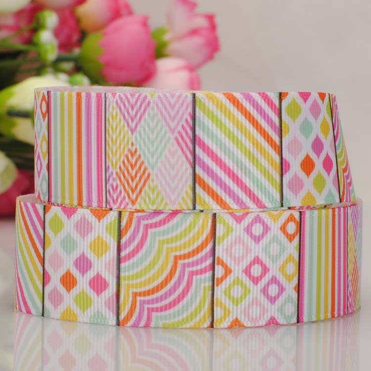 20yards 7/8'22mm Good quality Easter Day Geometry Ribbon printed Ribbon For crafting(China (Mainland))