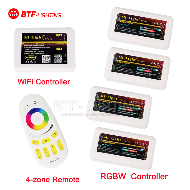 Different Combination 2.4G 4-zone RGBW LED Controller, Wireless RF Touch Remote, WiFi Mi-Light For 3825 5050 RGBCW RGBWW Strip(China (Mainland))