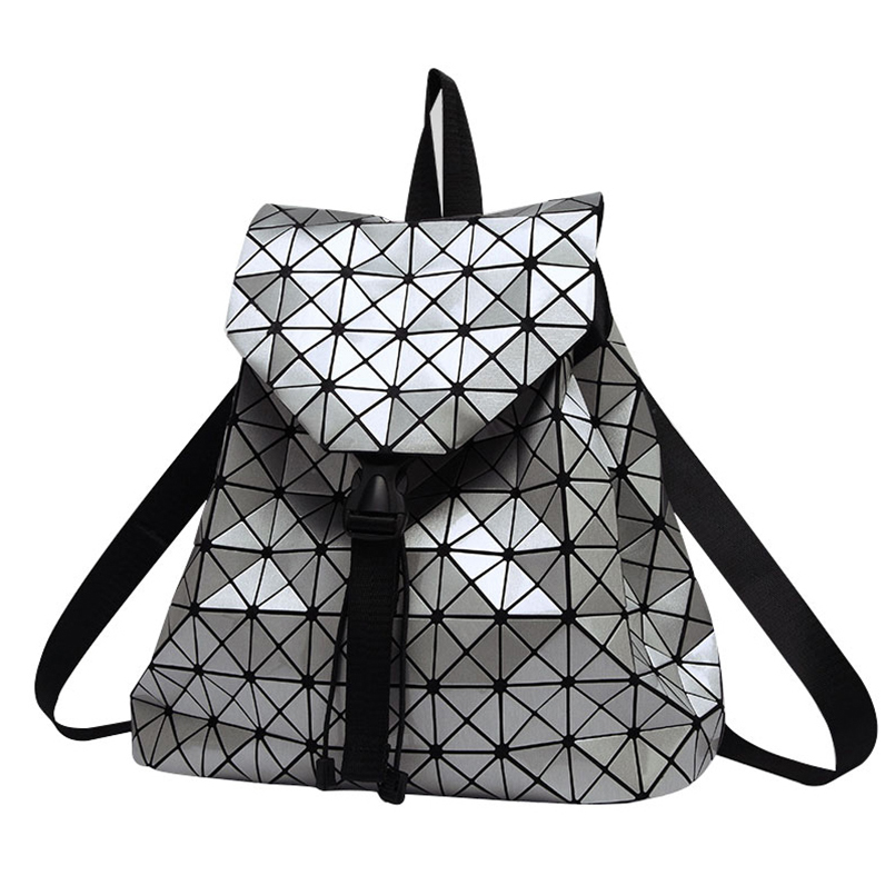 Women Backpack Feminine Geometric Plaid Sequin Female Backpacks For Teenage Girls Bagpack Drawstring Bag Holographic Backpack(China (Mainland))