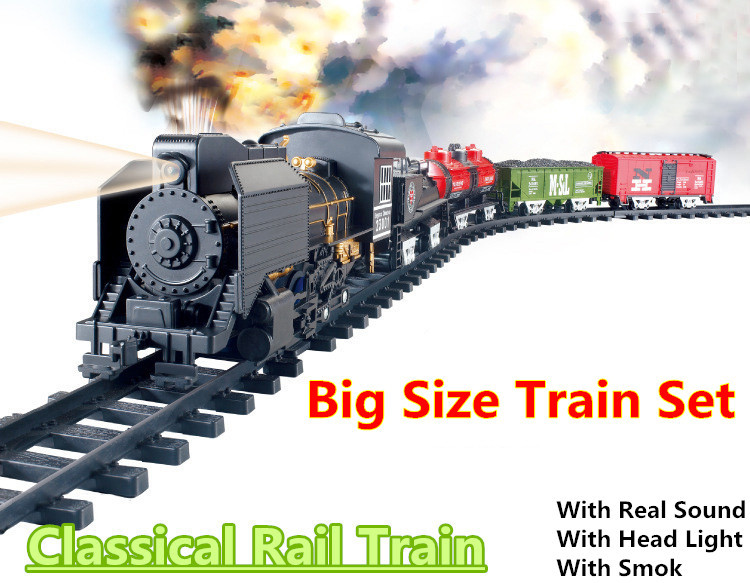 Big Size Classic toys Battery Operated Railway Rail Train Electric Toy Railway Car with Sound&Light&Smoking Rail Car for Child(China (Mainland))