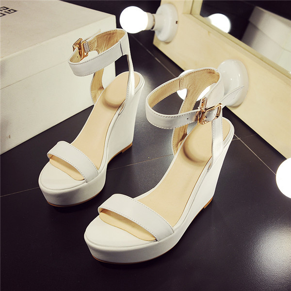 calfskin chunky sole sandals genuine leather women shoes high wedges heels platform concise summer shoes sizes 21.5cm-24.5cm<br><br>Aliexpress