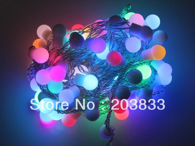 Free shipping Ball bulb light waterproof led flexible strip 100 LED 10m long 220V AC colorful led strip