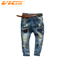 VICVIK Jeans Children Boys Ripped Jeans Kids Fashion Denim Pants Baby Casual Jean Infant Boys Brand Slim Fit Pants Kids Trousers(China (Mainland))