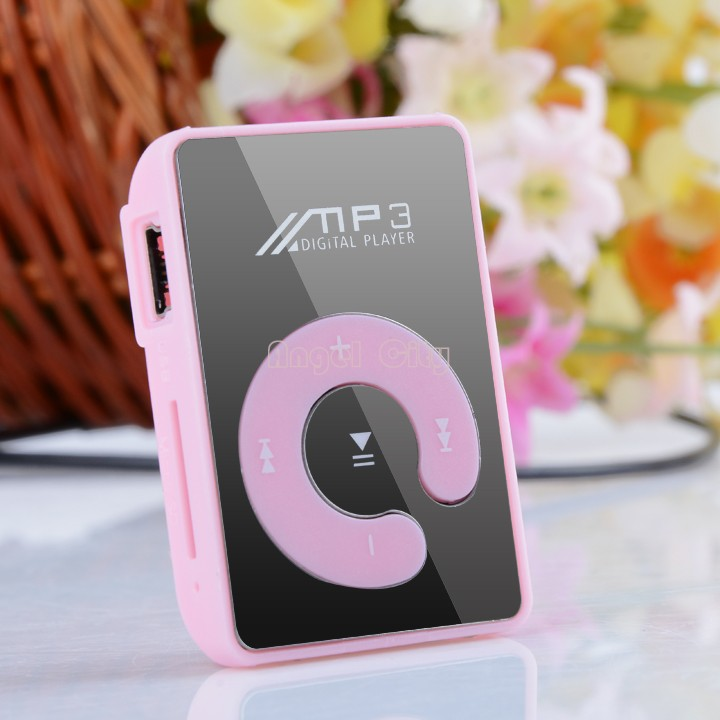 NEW ARRIVAL free shipping Mini Clip Mp3 Player/sport Mirror Mp3 SD/TF card C Button MP3 Music Media Pink 34(China (Mainland))