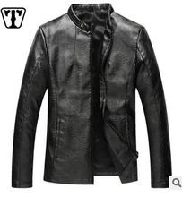 2016men's clothing han edition cultivate one's morality men's leather collar pu leather jacket locomotive pipi coat(China (Mainland))