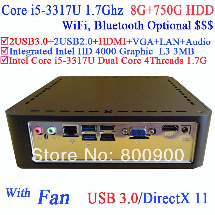 computer mini pc windows server with USB 3.0 HDMI Intel core i5-3317U third generation i5 Ivy Bridge 1.7GHz CPU 8G RAM 750G HDD(China (Mainland))