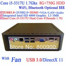 computer mini pc windows server with USB 3.0 HDMI Intel core i5-3317U third generation i5 Ivy Bridge 1.7GHz CPU 8G RAM 750G HDD(China (Mainland))
