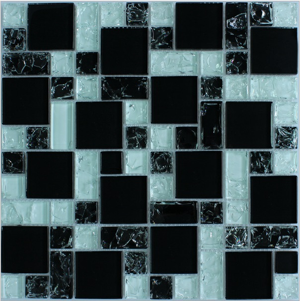 The television background wall mount mirror puzzle tile crystal glass mosaic transparent black color crushed ice crack effect(China (Mainland))