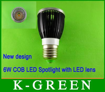 popular E27 6w cob led spot light with led lens high quality cob led lighting  2013 newest COB LED Spotlight free shipping<br><br>Aliexpress
