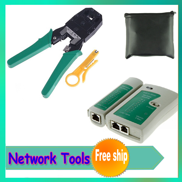 1 sets High Quality RJ45 RJ11 RJ12 CAT5 Network Cable Crimper Pliers Tools network pliers +Network Lan Cable Tester with bag
