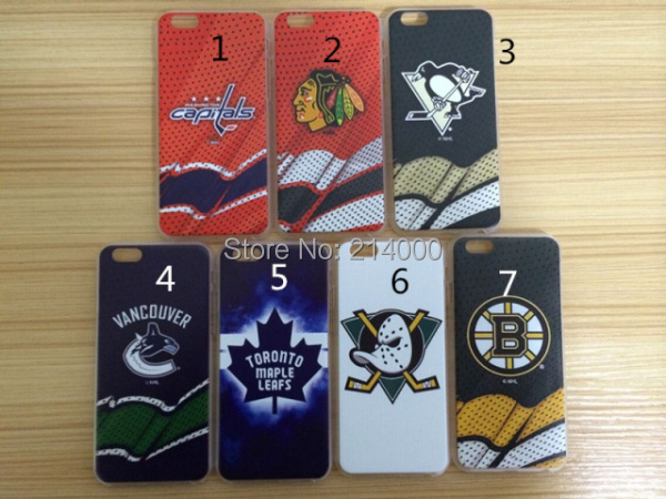 Blackhawks Ducks Penguins Capitals Vancouver Canucks Bruins Maple Leafs ice hockey team case for iphone 6(China (Mainland))