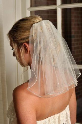Фату хороший белый / слоновая кость короткие 1 слоя фата с расческой перл свадебные ...