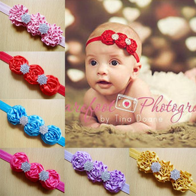 2014 wholesale newborn headbands satin ribbon roses 3 fabric flowers with 2 rhinestone baby girl hair accessories10pcs/lot(China (Mainland))