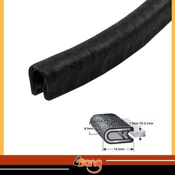 "9.3mmx13.3mm BLACK Edge Trim Seal Lock RV Camper Lok Rubber Truck Door Waterproof 40"" 1Metre #03"