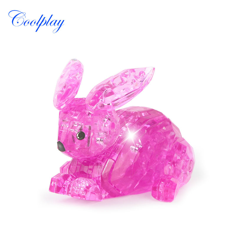 56pcs CP9027 DIY Funny Rabbit 3D Crystal Puzzles the IQ intelligence toys 3D puzzle plastic toys professional puzzle gifts(China (Mainland))