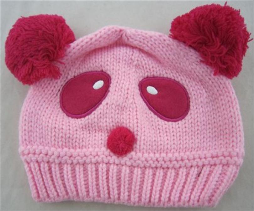 2016 Hot Sale Lovely Animal Panda Baby Hats And Caps Kids Boy Girl Crochet Beanie Hats Winter Cap For Children Keep Warm ET104(China (Mainland))