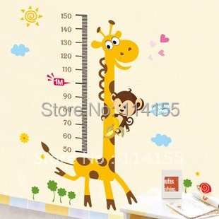 FREE SHIPPING Giraffe height wall stickers /kids wall stickers decorative painting background wallpaper wholesale