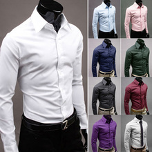 Men Classic Solid Color Formal Business Shirt Long Sleeve Wedding Casual Suits MENHM0014