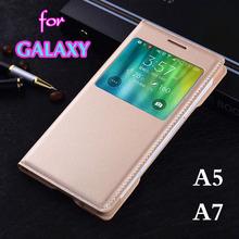 Slim Bag Smart View Auto Sleep Wake Shell Original Flip Cover Leather Case For Samsung Galaxy A5 A500 A500F A500H A7 A700 A700F(China (Mainland))