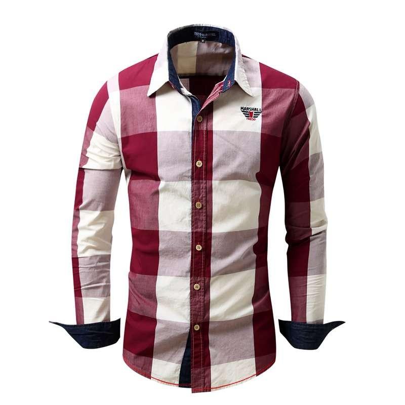 US Size Big Plaid Shirt Men\`s Long-Sleeved Shirt 100% Cotton Casual Brand Chemise Homme Fashion Business Shirts Plus Size M099 (3)