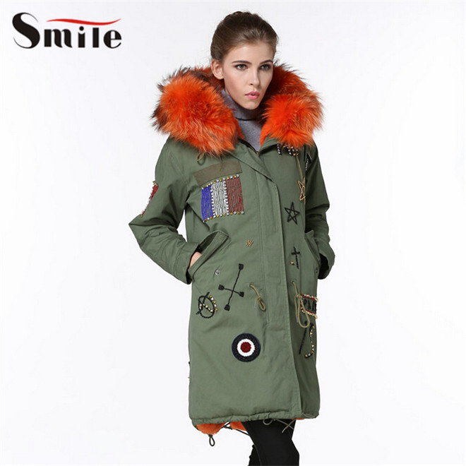 Women Winter Coats Real Natural Fox Fur Jacket with Fur Cap Female Orange Color Fur Lining Long Coat Parka with Hood 2015 New(China (Mainland))