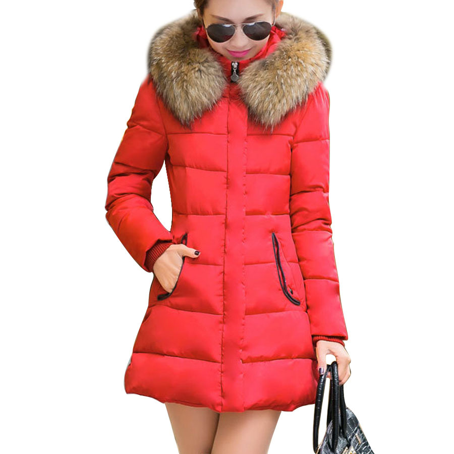 Plus Size Fashion Casaco Feminino Red Parka Slim Thick Coat Outwear Hooded Wadded Fur Collar Women Winter Jackets D46(China (Mainland))
