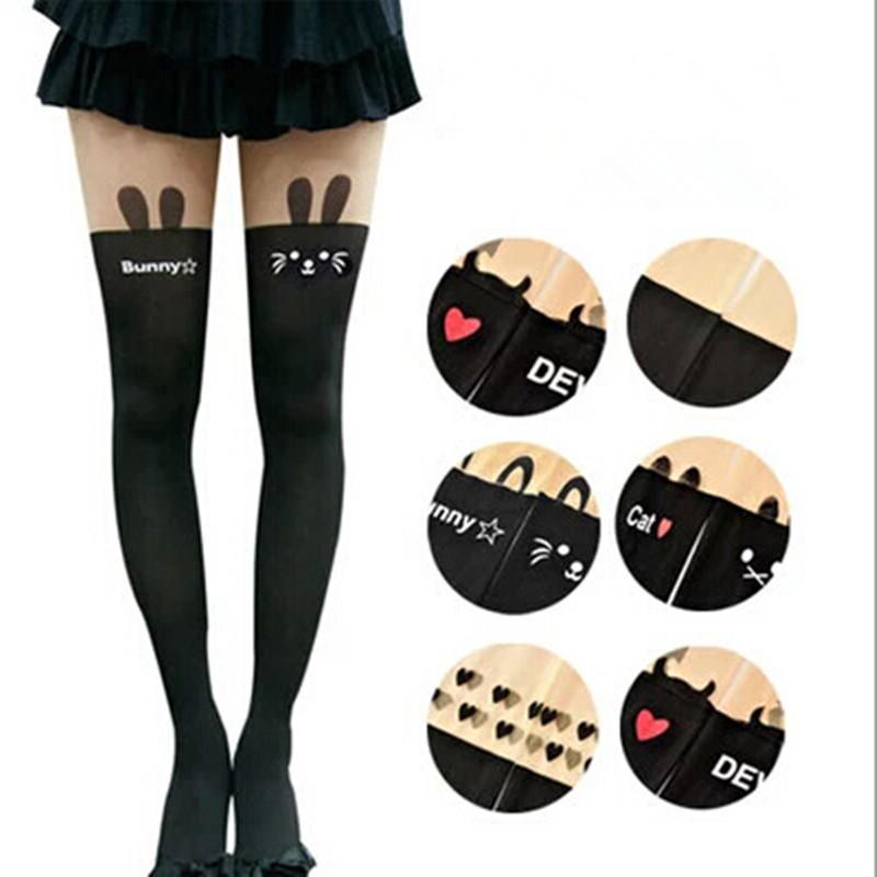 2015 Styles New Harajuku Women Pantyhose Stocking Sexy Personality Bow Heart Stitching Knee Boots Nylon Tights free Shipping(China (Mainland))