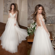 A-Line Long Sleeves Sheer V-Neck Appliques Lace Wedding Dresses 2016 Sexy Open Back Long Tulle Elegant Wedding Dresses China(China (Mainland))