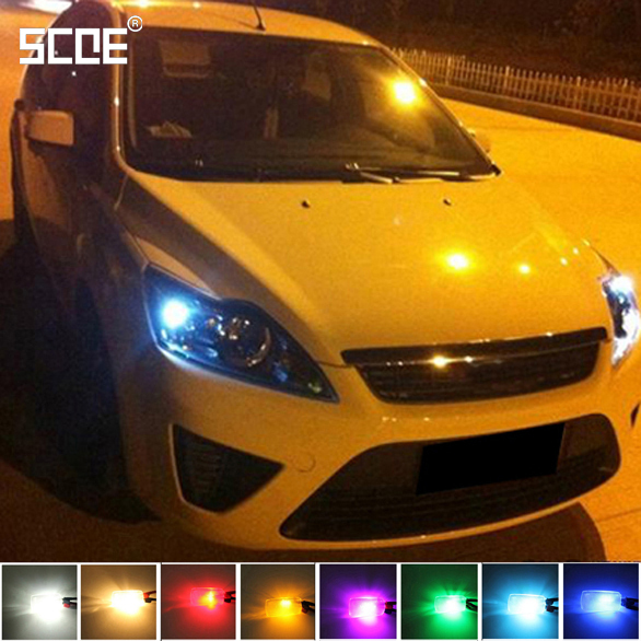 SCOE Car Styling 2x6SMD LED Width Clearance Light Lamp Bulb Source For Ford Focus 2 Crystal Blue Warm White Yellow Green Purple(China (Mainland))