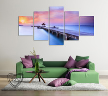 5 Piece Sunset Seascape Blue Seawater Modern Wall Art HD Picture Canvas Print Painting For Living Room Decor Unframed(China (Mainland))