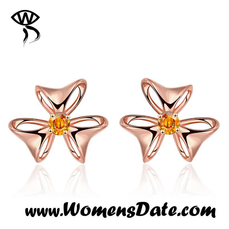 WomensDate 2016 Wholesale Romantic Girl Yellow Zircon Gold Earrings 18K Rose Gold Plated Elegant Flower Stud Earrings