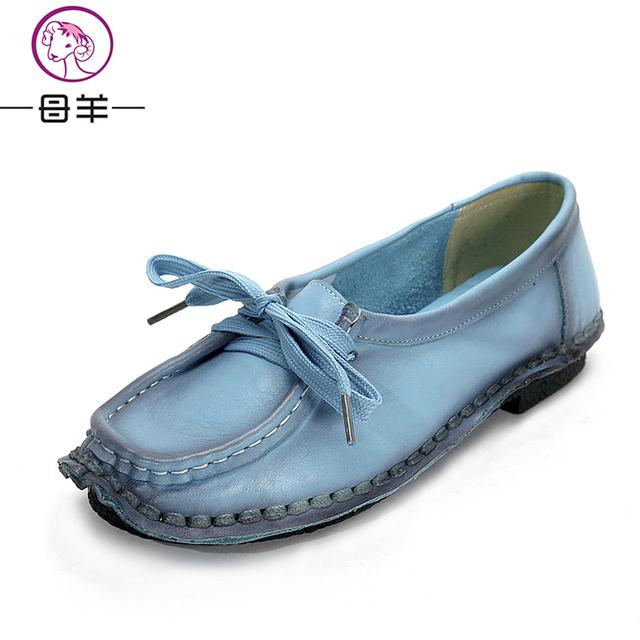 Женская обувь ручной работы из натуральной кожи плоским шнуровкой мать обувь женщина ...