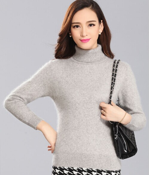 2016 New genuine mink cashmere sweater women pure cashmere pullovers turtleneck sweater customized big size free shipping S169(China (Mainland))