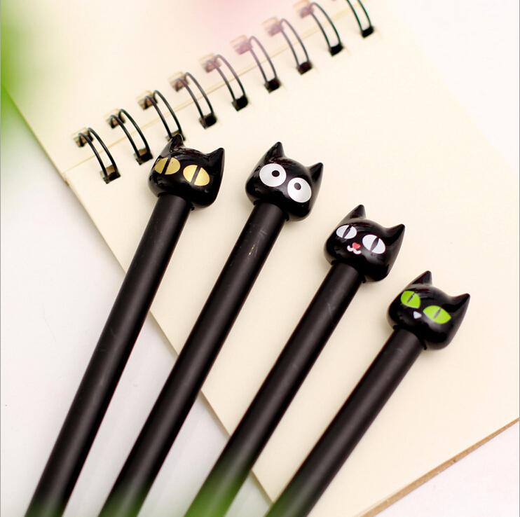4X Cute Kawaii Black Cat Gel Pen Kawaii Korean Stationery Creative Gift School Supplies 0.5mm