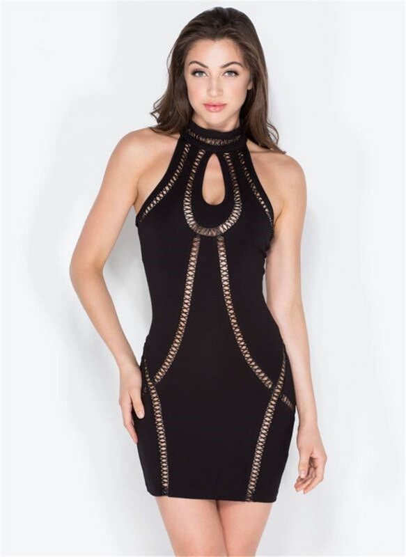 Top Quality HL Black Keyhole Off The Shoulder Rayon Bandage Dress Evening Party Bodycon Dress