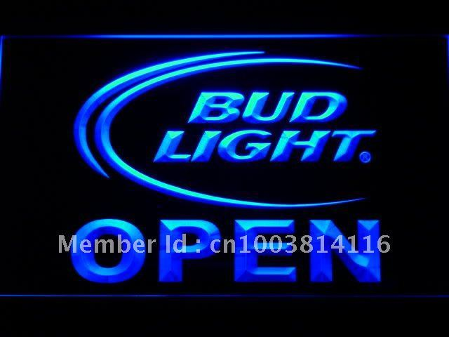 025-b Bud Light Beer OPEN Bar LED Neon Sign with On/Off Switch 7 Colors to choose
