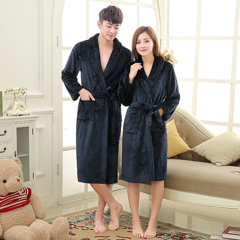 Unisex Mens Women\`s Long Polyester Sleep Lounge Robes RBS-C LYQ114 10
