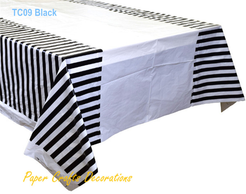 """108*180cm (70"""" * 43"""") Black Striped Plastic Tablecloths Table Cover Themed Birthday Party Decorations(China (Mainland))"""