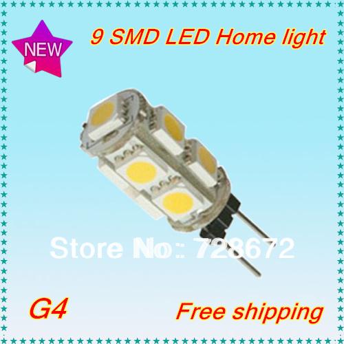Wholesale 12pcs/lot DC12V G4 2W Led White 9 SMD 5050 LED Light Home Car RV Marine Boat LED Lamp Bulb Free shipping(China (Mainland))