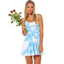 1007 Fashion Women's 3D printing blue sky cloud prints elastic summer sexy Girl skater one-piece dress