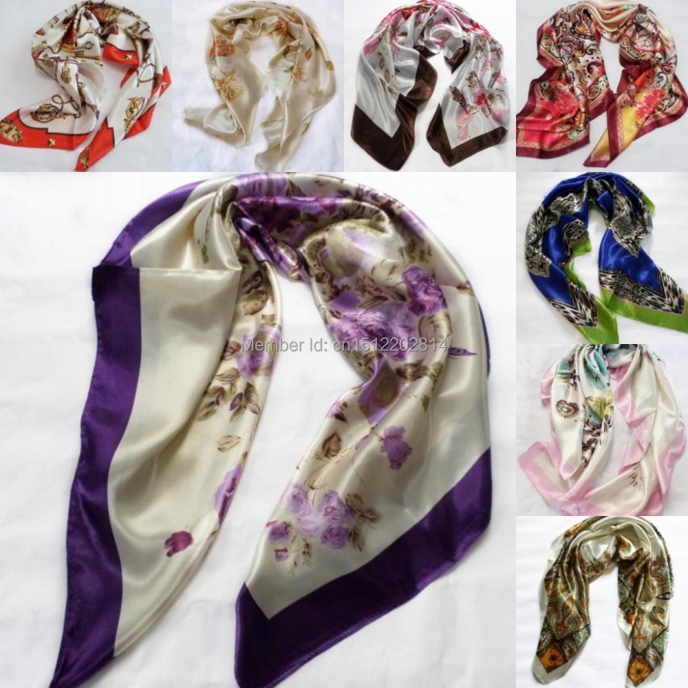 2015 IN Stock Elegent Women Large Square Silk Scarf Printed,90*90cm Fashion Spring And Autumn Chinese Silk Scarf Shawl TK02(China (Mainland))