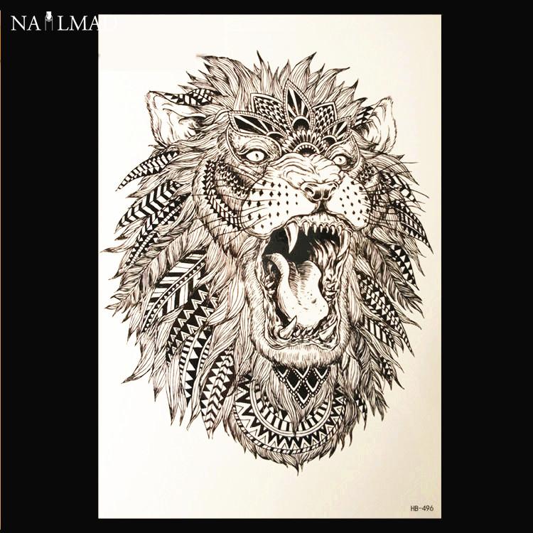 1 sheet Waterproof Temporary Tattoo Lion Animal Tattoo Paste Tattoo Decals Body Art Tattoo Sticker HB496(China (Mainland))
