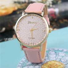 2015 nueva alta calidad de moda Faux banda de cuero reloj decoración relojes de flores elegante Casual cuarzo analógico reloj de pulsera