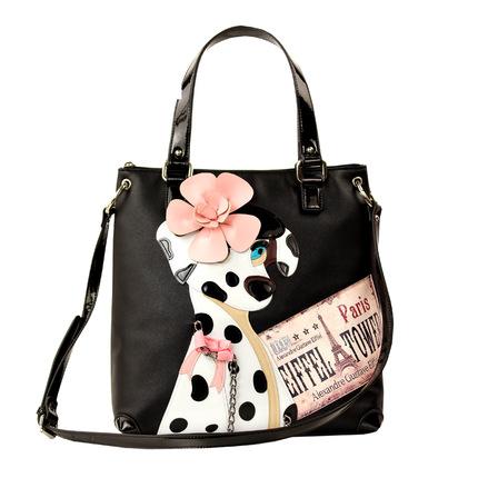 Black Color Borsa Tottyblu Braccialini Italy Handicraft Art Story-telling Design Women Shoulder Vintage Handbag Tote Spotted Dog()