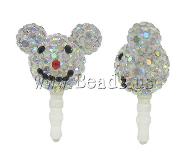Free shipping!!!Earphone Jack Dust Cap Plugs,2013 womens european fashion, Clay, with Plastic,  Mouse, AB color plated