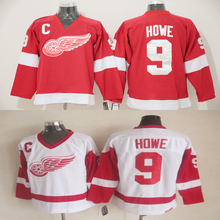 Gordie Howe Premier Jersey Mens Red Wings #9 Gordie Howe Home Red Stitched embroidery Ice Hockey Jerseys High quality Shirts(China (Mainland))