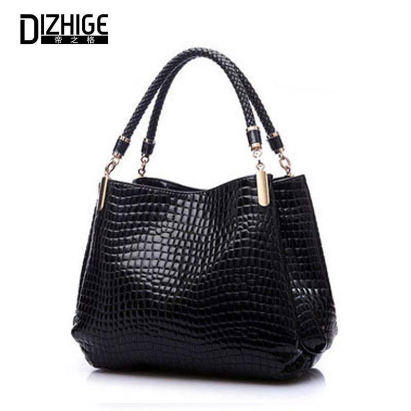 Big New Women Shoulder Bags Alligator Ladies Leather Bags Women Handbags Of Famous Brands Totes 2015 Black Sac Espagnol(China (Mainland))